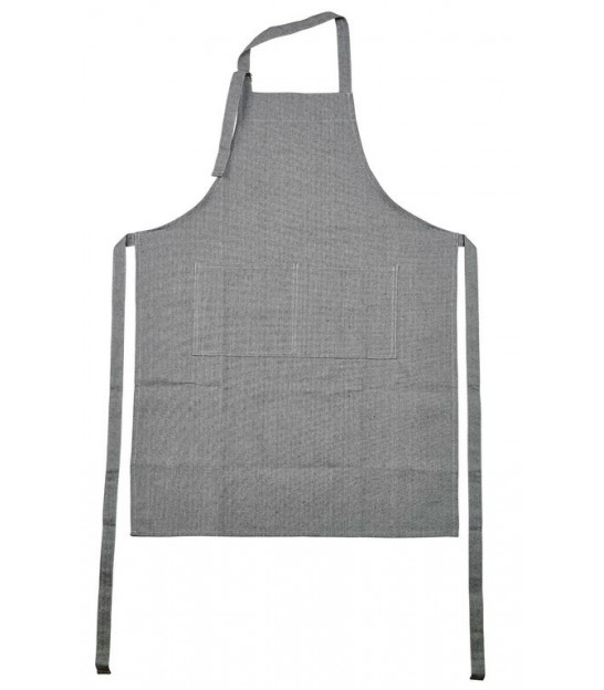 Apron Grey and White Linen and Cotton