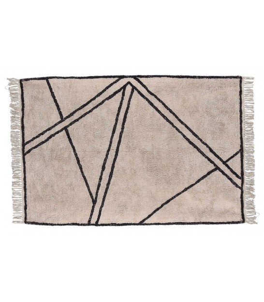 Rug 100% Cotton Natural and Black - 120*180cm