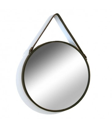 Suspended Mirror With Brown Fake Leather Strap