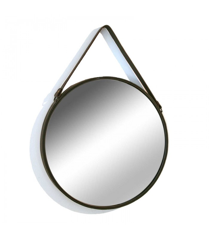 Miroir suspendu avec lani re similicuir marron for Miroir adhesif a decouper