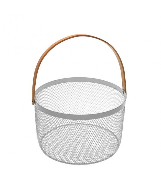 Fruit Basket Metal White and Wood