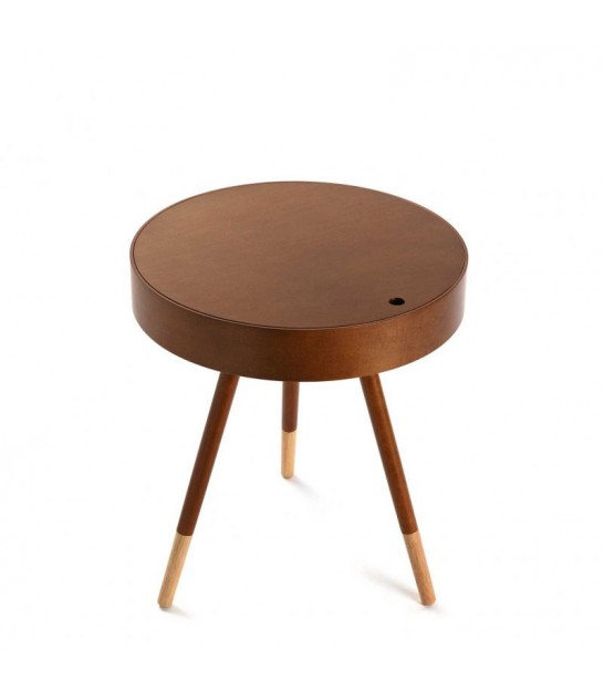 Table Basse Design Ronde d'Appoint en Bois d'Hévéa Finition Noyer