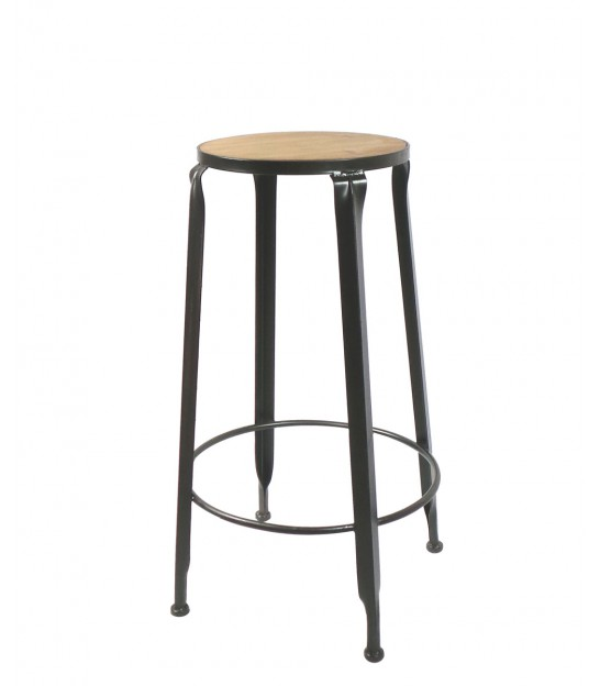 Round Bar Stool Black Metal and Wood