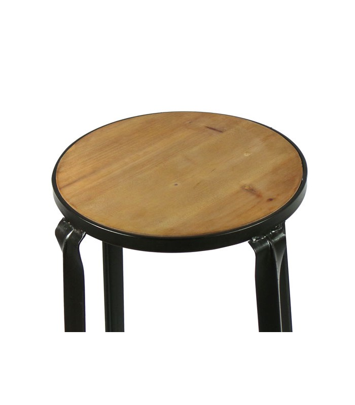 tabouret de bar rond en m tal noir et assise en bois. Black Bedroom Furniture Sets. Home Design Ideas