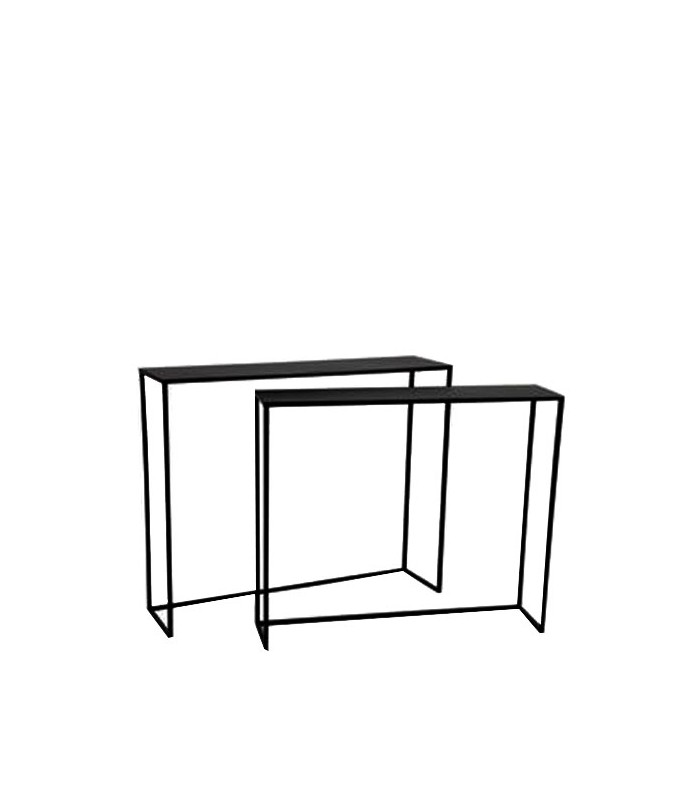 set of 2 black metal console tables. Black Bedroom Furniture Sets. Home Design Ideas