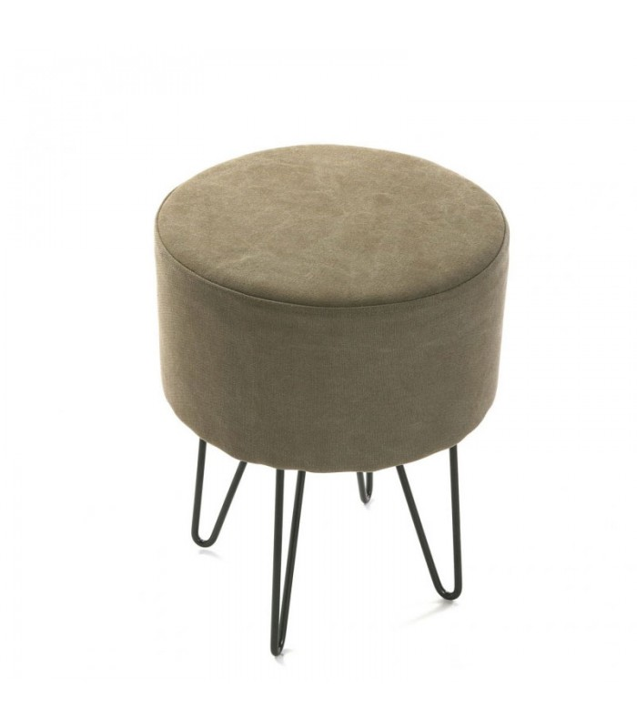 tabouret rond en coton taupe et pieds en m tal noir. Black Bedroom Furniture Sets. Home Design Ideas