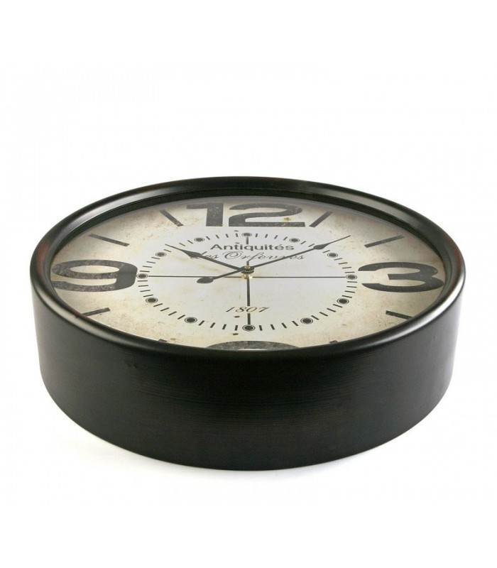 horloge murale ronde noire antiquit s des orf vres 50cm. Black Bedroom Furniture Sets. Home Design Ideas