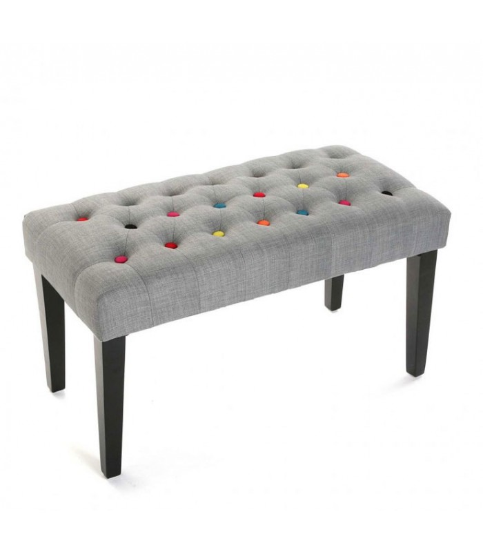 banquette bout de lit en tissu gris et boutons multicolores. Black Bedroom Furniture Sets. Home Design Ideas