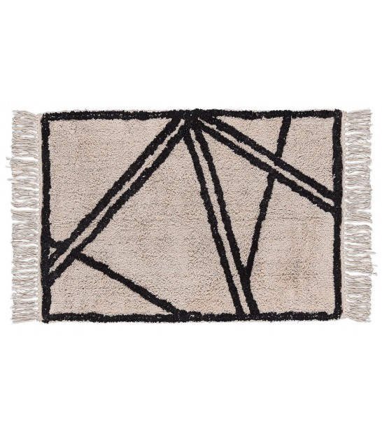 Rug 100% Cotton Natural and Black - 90*60cm