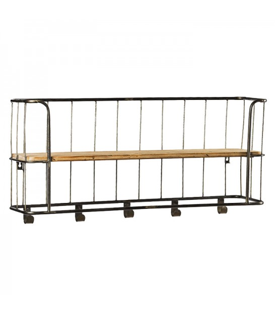 Wall shelf black metal and wood - Wall metal shelf ...