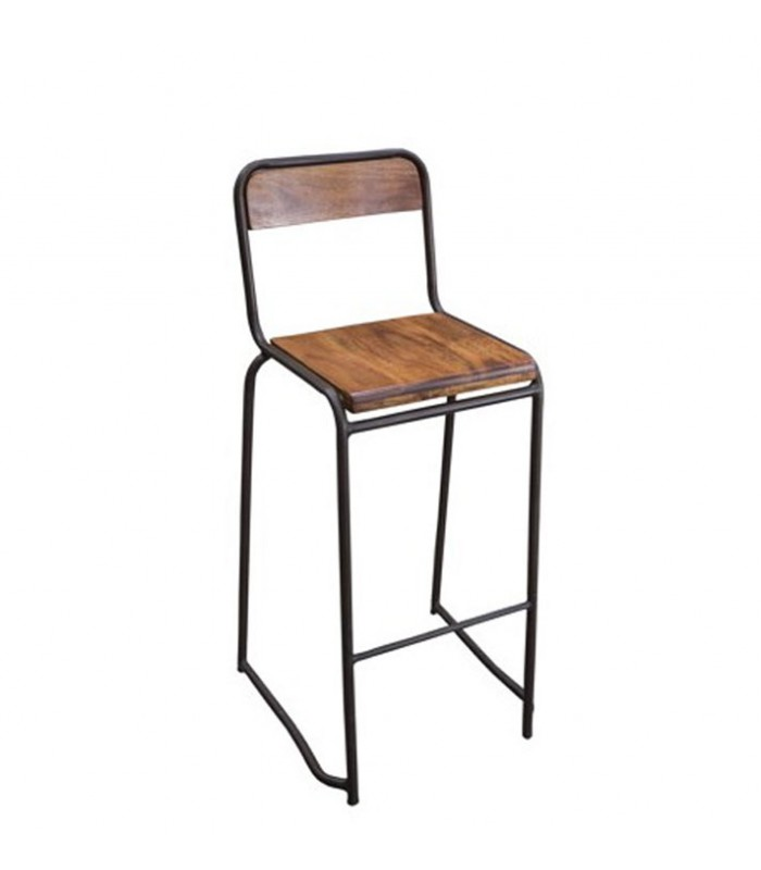 tabouret de bar en m tal et bois d 39 acacia avec dossier. Black Bedroom Furniture Sets. Home Design Ideas