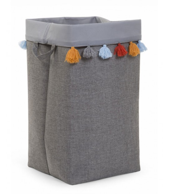 Grey Laundry Basket with Multicolored Pompoms