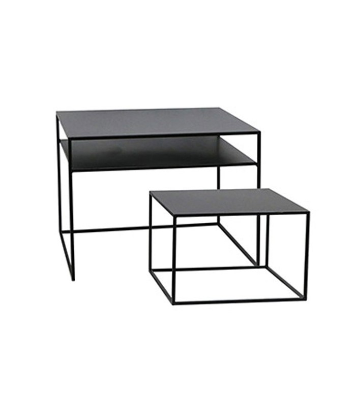 set de 2 tables basses gigognes en m tal noir. Black Bedroom Furniture Sets. Home Design Ideas