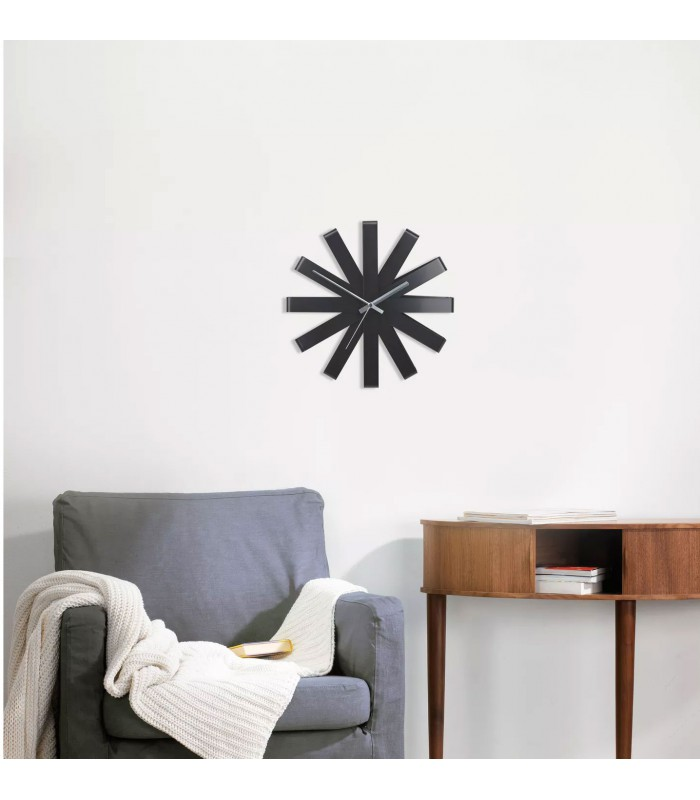 horloge murale design ribbon acier noir. Black Bedroom Furniture Sets. Home Design Ideas