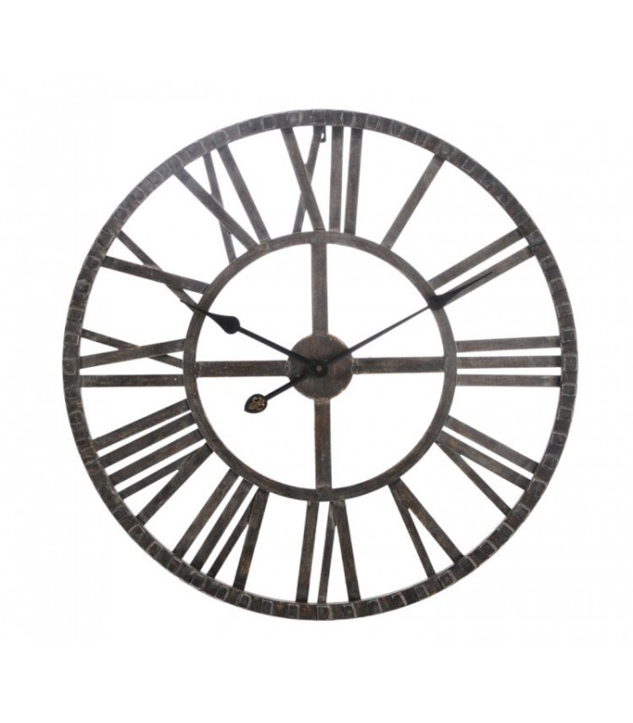 grande horloge murale ronde fer marron chiffres romains. Black Bedroom Furniture Sets. Home Design Ideas