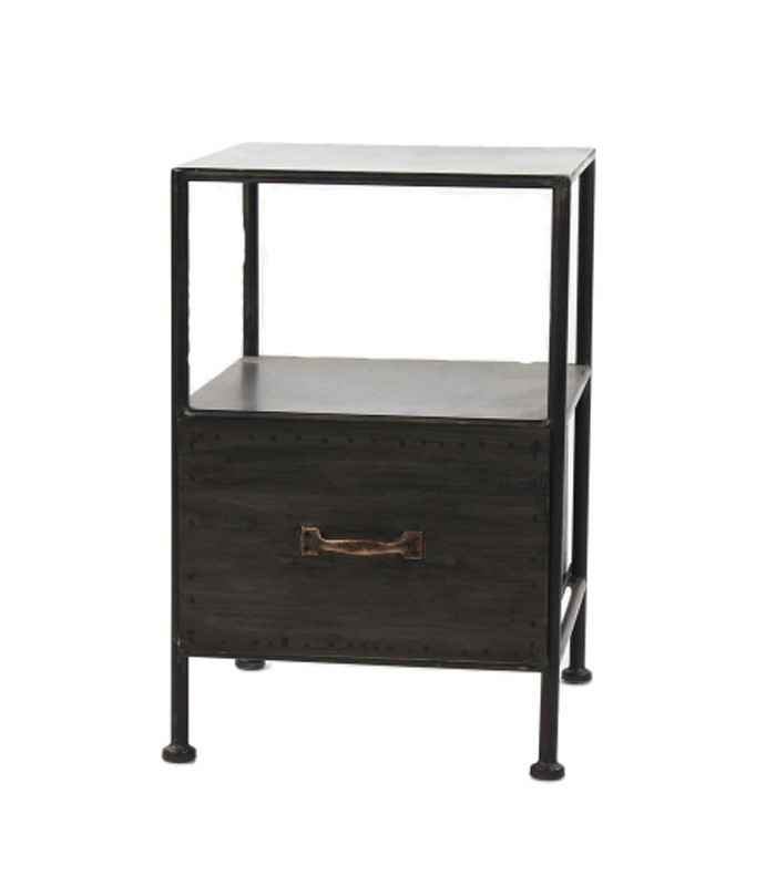bedside table black metal 1 drawer. Black Bedroom Furniture Sets. Home Design Ideas
