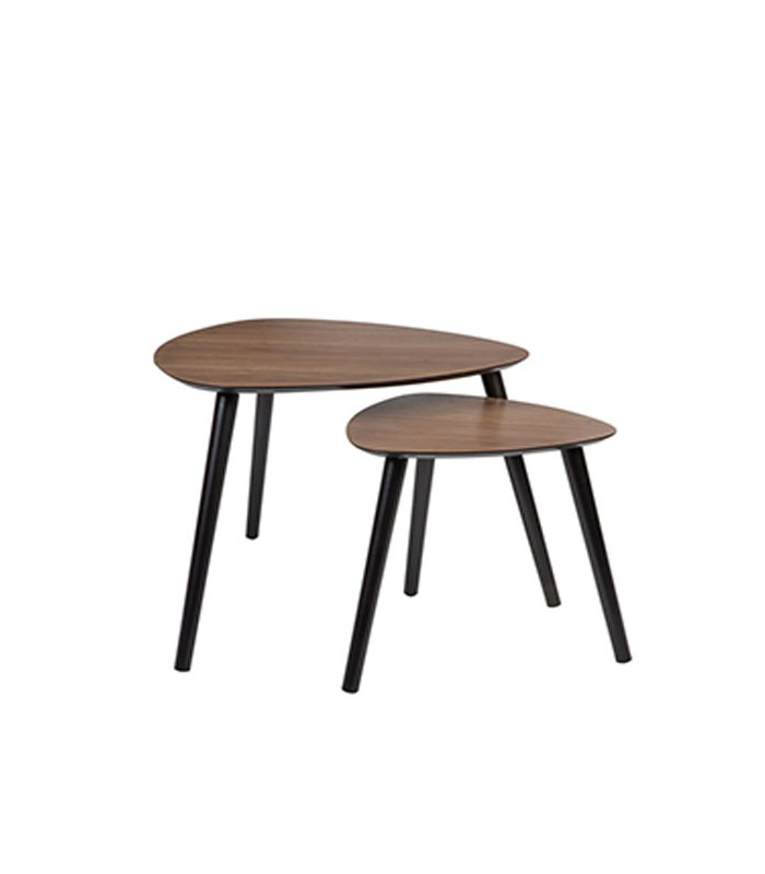 Set de 2 tables basses gigognes en bois marron fonc for Set de table en bois
