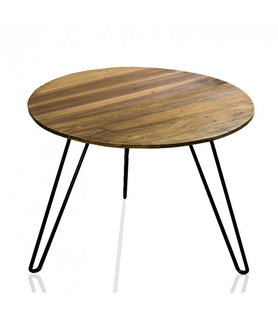 Table basse ronde style industriel r glable 39 flexo - Table basse de salon en bois ...