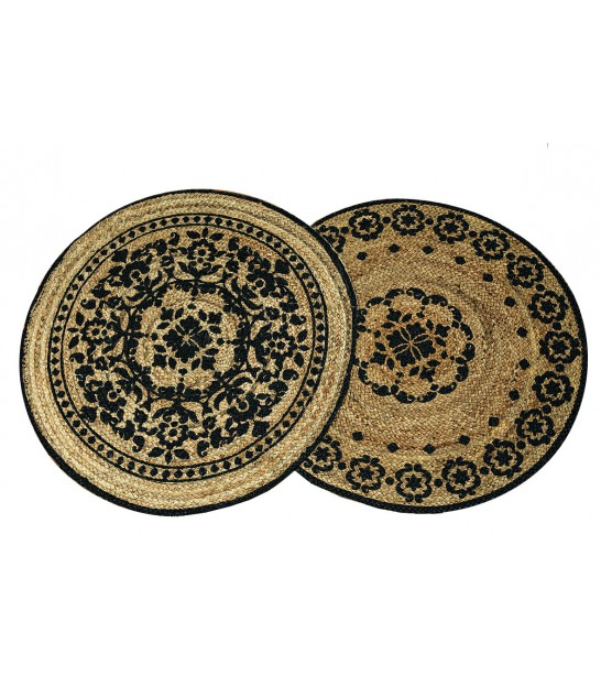 Set de 2 Tapis Ronds en Jute Naturel et Coton Noir