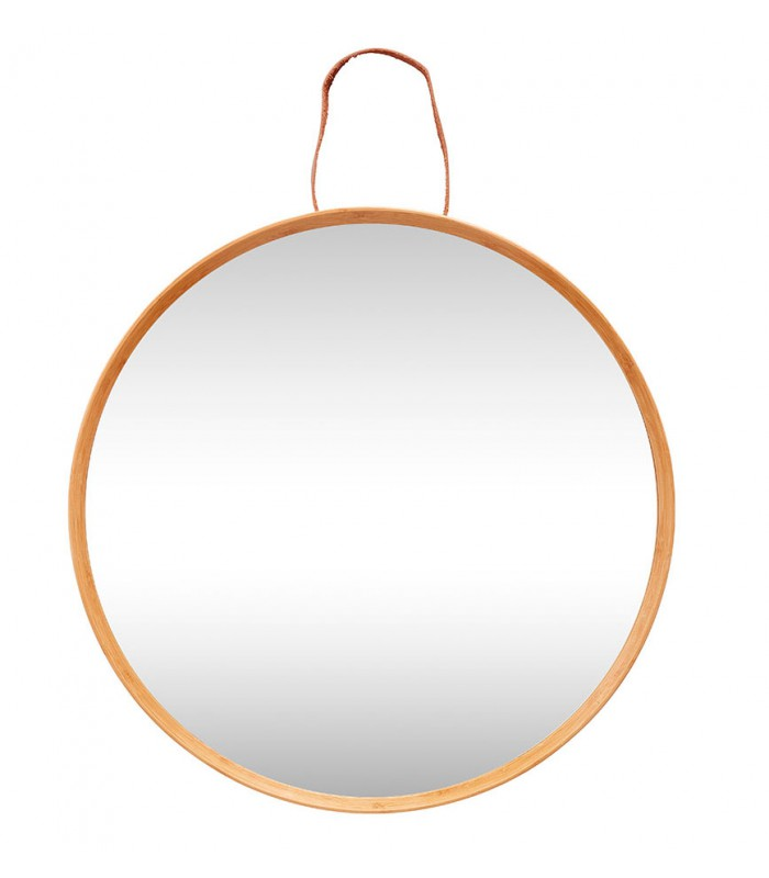 Grand miroir rond suspendu bois et lani re cuir for Grand miroir rond