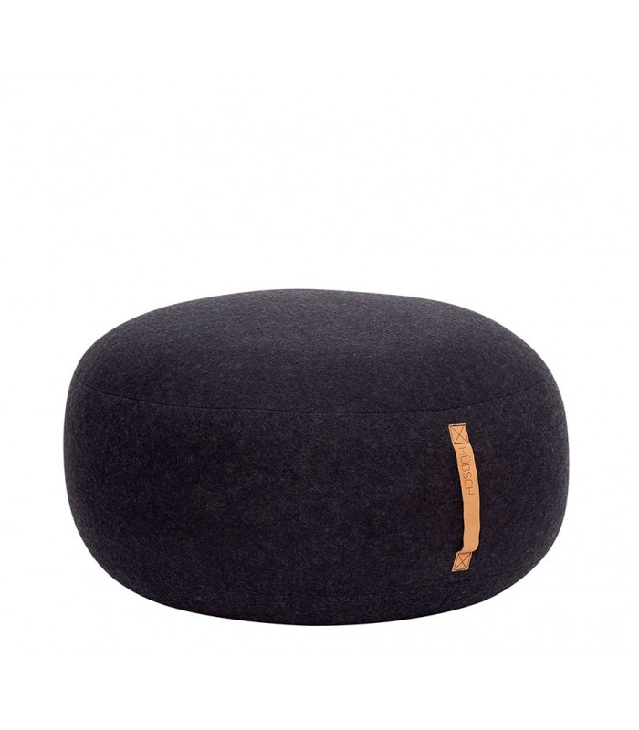 Pouf With Leather Strap Round Wool Dark Grey