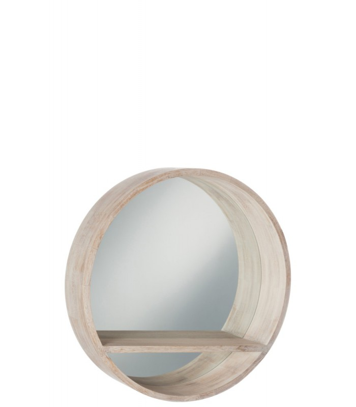 miroir mural rond avec tablette en bois blanchi. Black Bedroom Furniture Sets. Home Design Ideas