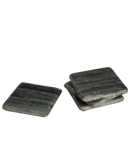 Set of 4 Grey Square Marble Coasters