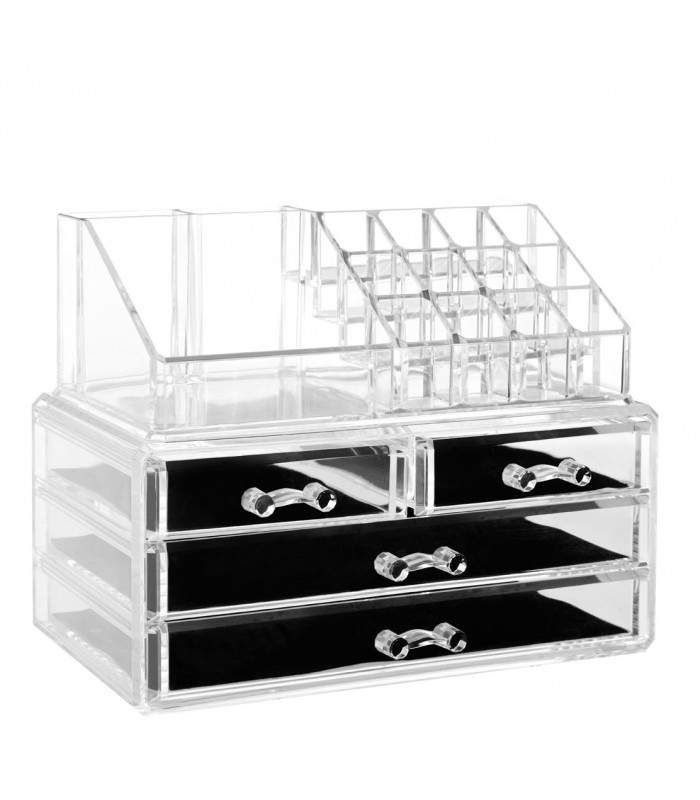 rangement maquillage en acrylique transparent. Black Bedroom Furniture Sets. Home Design Ideas