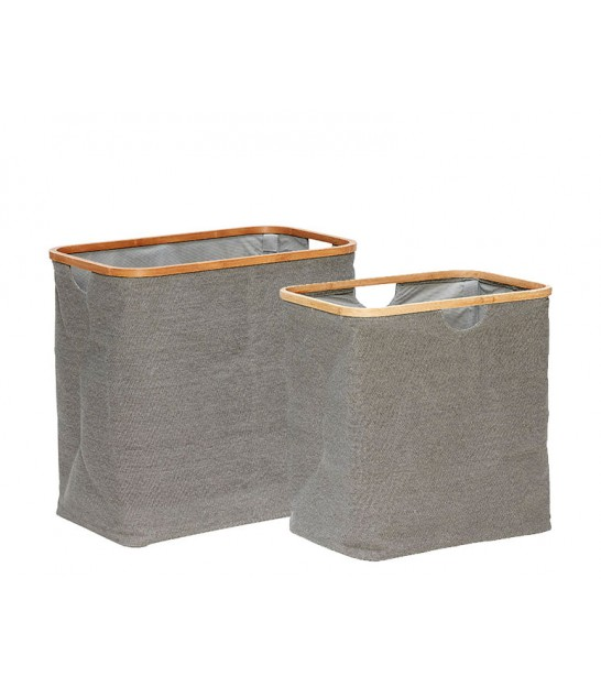 Set of 2 Grey Laundry Baskets Fabric and Bamboo
