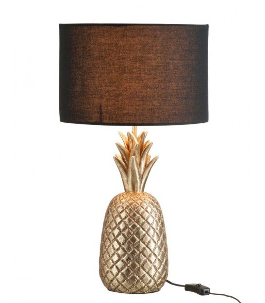 Lampe Ananas Rèsine Or Antique