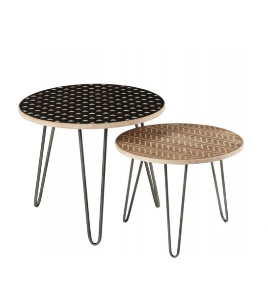 Round Coffee Table Set Of 2: Set Of 2 Round Design Coffee Table Made Of Wood And Chrome