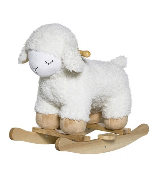Rocking Sheep White Polyester and Wood
