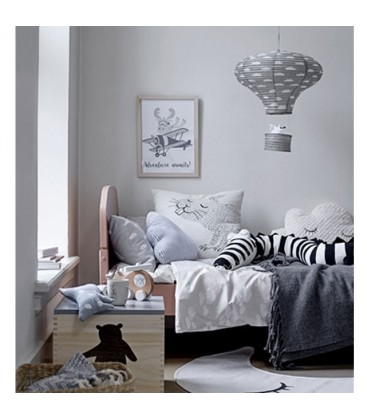 abat jour suspension lanterne chambre enfant en papier gris. Black Bedroom Furniture Sets. Home Design Ideas