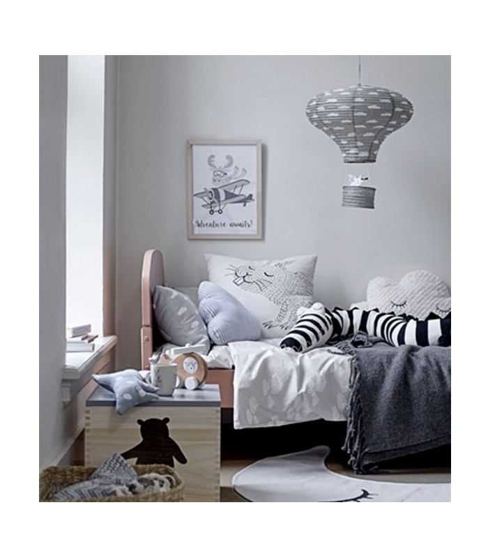 Abat jour suspension lanterne chambre enfant en papier gris for Suspension chambre
