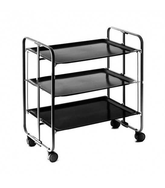 Rolling and Folding Table 3 Shelves Black Frame / Black Trays