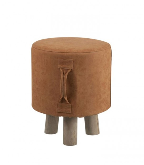 Children Stool Fake Leather Brown
