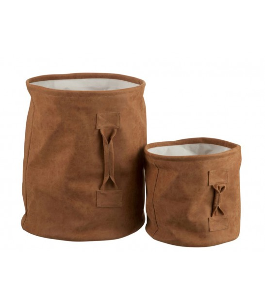 Set de 2 Paniers de Rangement en Similicuir Marron
