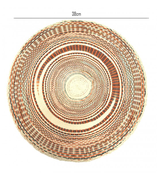 Set de Table Rond en Polypropylène Orange et Gris