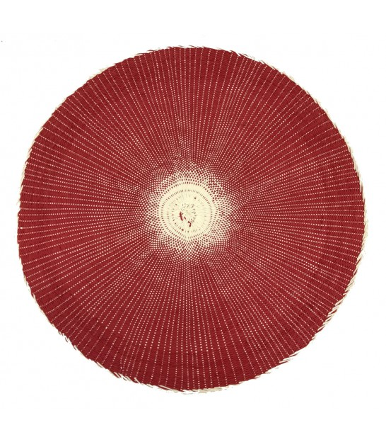 Set de Table Rond en Polypropylène Rouge et Beige