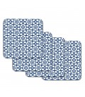 Set of 4 Cork Coasters Casablanca Blue