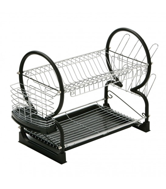 2 Tier Dish Rack Black and Chrome