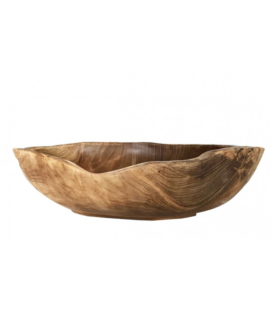 Grande Corbeille à Fruits / Coupelle décorative en Bois Teck Nature - diam. 40cm