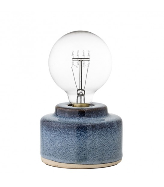Lampe de Table en Porcelaine Bleue