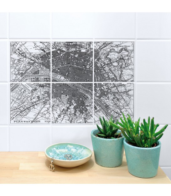 Stickers for Bathroom or Kitchen Tiles Mappemonde - Set of 8