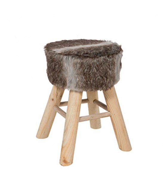 Stool Wood and Synthetic Fur