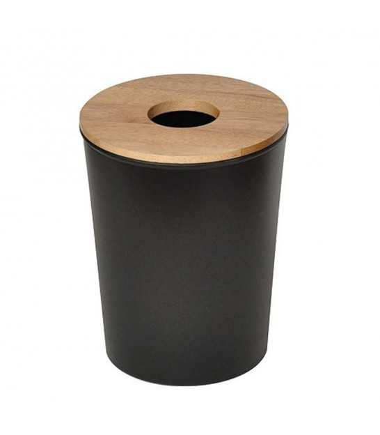 Bathroom Bin Black Plastic and Wood