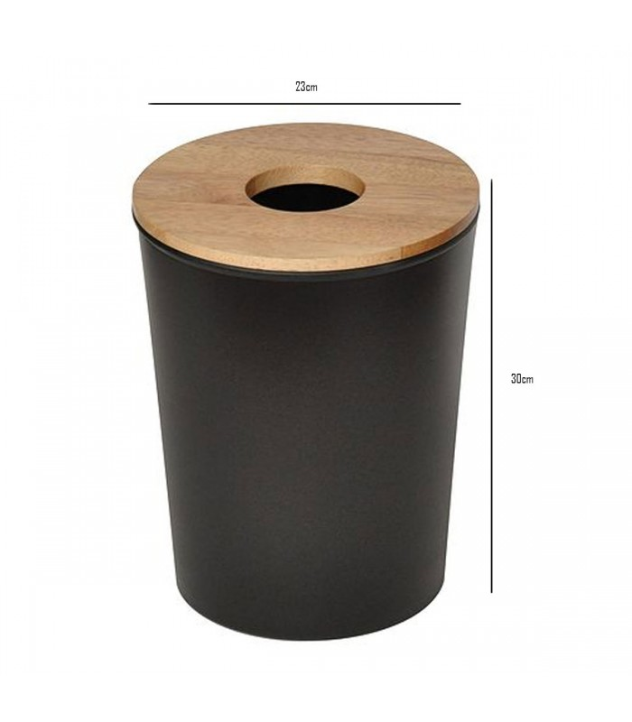 Bathroom Bin Black Plastic And Wood Poubelle
