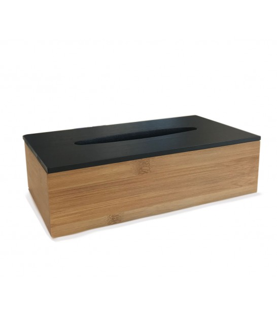 Tissue Box Bamboo Black