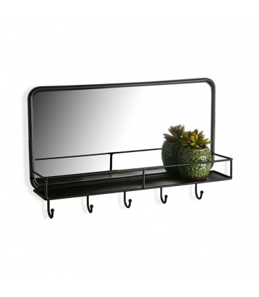 miroir mural noir rectangulaire avec tag re et portemanteau. Black Bedroom Furniture Sets. Home Design Ideas