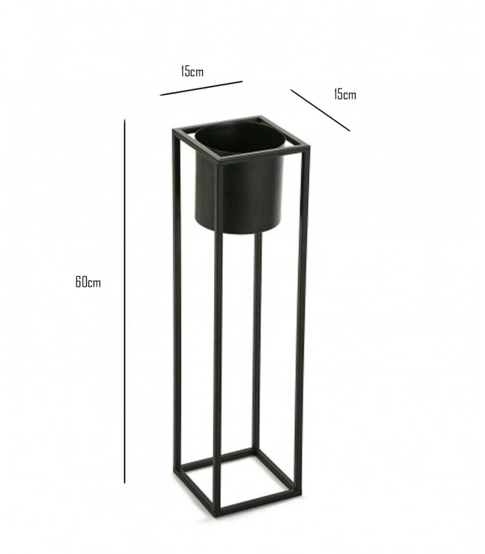cache pot sur pied en m tal noir hauteur 60cm. Black Bedroom Furniture Sets. Home Design Ideas